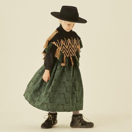 eLfinFolk ordic knit mantle  Mサイズ black×camel  エルフィンフォルク マント