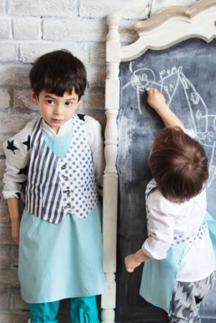 【MARLMARL(マールマール)】slash straipe×dot(kids) エプロン